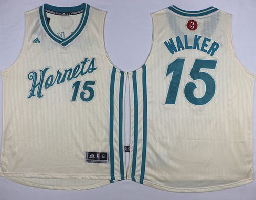 Hornets  15 Kemba Walker Cream 2015-2016 Christmas Day Stitched NBA Jersey 6b2eaf884