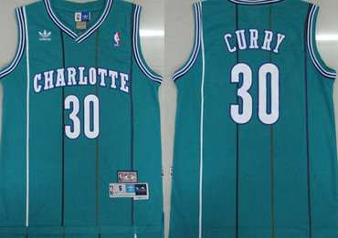 Hornets 30 Dell Curry Green Hardwood Classics Jersey
