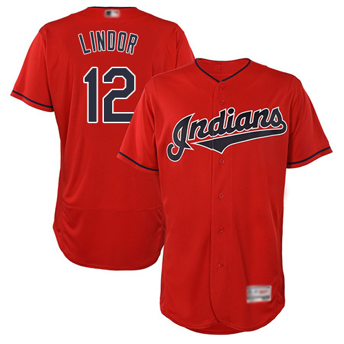 Indians #12 Francisco Lindor Red Flexbase Authentic Collection Stitched Baseball Jersey