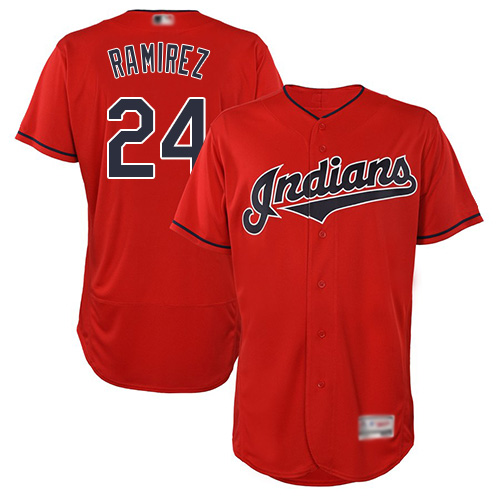 Indians #24 Manny Ramirez Red Flexbase Authentic Collection Stitched Baseball Jersey