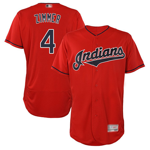 Indians #4 Bradley Zimmer Red Flexbase Authentic Collection Stitched Baseball Jersey