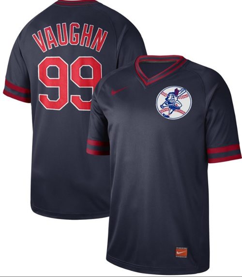 Indians #99 Ricky Vaughn Navy Authentic Cooperstown Collection Stitched Baseball Jersey