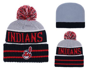 Indians Black Banner Block Cuffed Knit Hat With Pom YD