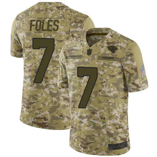 Jaguars #7 Nick Foles Camo Youth Stitched Football Limited 2018 Salute to Service Jersey