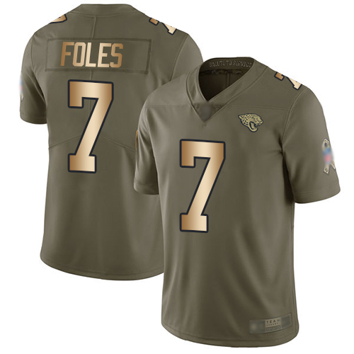 Jaguars #7 Nick Foles Olive Gold Men's Stitched Football Limited 2017 Salute To Service Jersey
