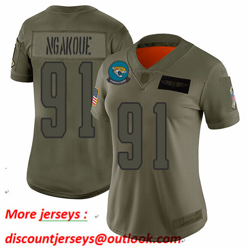 Jaguars #91 Yannick Ngakoue Camo Women's Stitched Football Limited 2019 Salute to Service Jersey