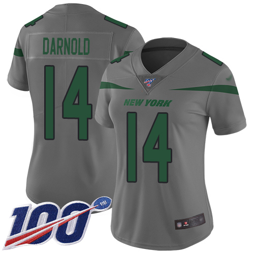 Jets #14 Sam Darnold Gray Women's Stitched Football Limited Inverted Legend 100th Season Jersey
