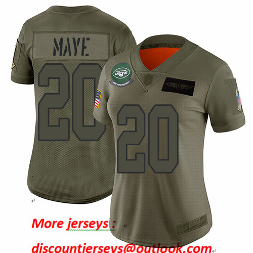 Jets #20 Marcus Maye Camo Women's Stitched Football Limited 2019 Salute to Service Jersey