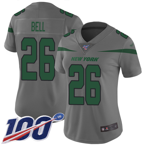 Jets #26 Le'Veon Bell Gray Women's Stitched Football Limited Inverted Legend 100th Season Jersey