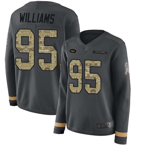 Jets #95 Quinnen Williams Anthracite Salute to Service Women's Stitched Football Limited Therma Long Sleeve Jersey