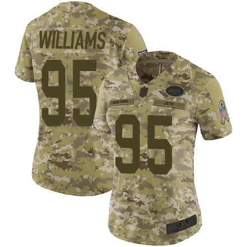 Jets #95 Quinnen Williams Camo Women's Stitched Football Limited 2018 Salute to Service Jersey