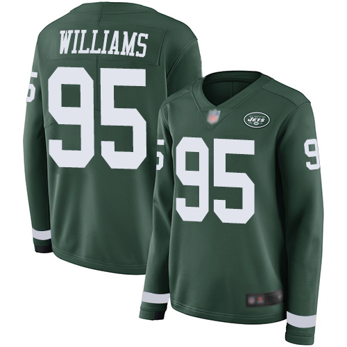 Jets #95 Quinnen Williams Green Team Color Women's Stitched Football Limited Therma Long Sleeve Jersey
