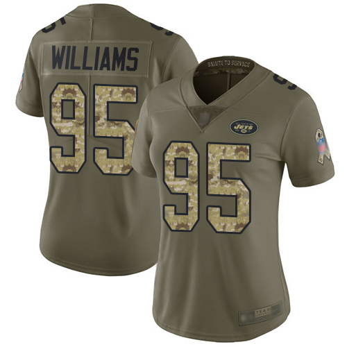 Jets #95 Quinnen Williams Olive Camo Women's Stitched Football Limited 2017 Salute to Service Jersey
