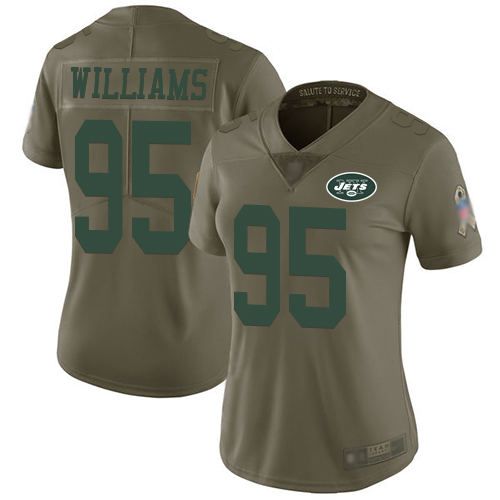 Jets #95 Quinnen Williams Olive Women's Stitched Football Limited 2017 Salute to Service Jersey