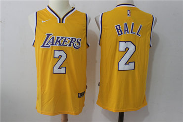 the latest 79be0 6c3fc Lakers 2 Lonzo Ball Yellow Nike