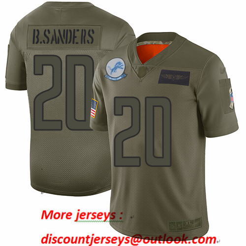 Lions #20 Barry Sanders Camo Men's Stitched Football Limited 2019 Salute To Service Jersey