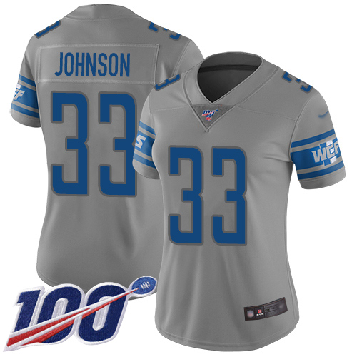 Lions #33 Kerryon Johnson Gray Women's Stitched Football Limited Inverted Legend 100th Season Jersey