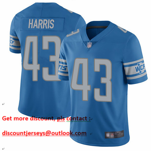 Lions #43 Will Harris Blue Team Color Men's Stitched Football Vapor Untouchable Limited Jersey