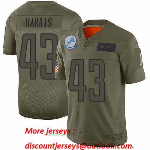 Lions #43 Will Harris Camo Men's Stitched Football Limited 2019 Salute To Service Jersey