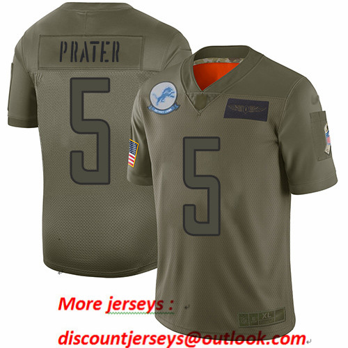 Lions #5 Matt Prater Camo Men's Stitched Football Limited 2019 Salute To Service Jersey