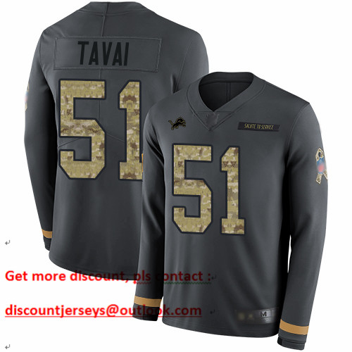 Lions #51 Jahlani Tavai Anthracite Salute to Service Men's Stitched Football Limited Therma Long Sleeve Jersey
