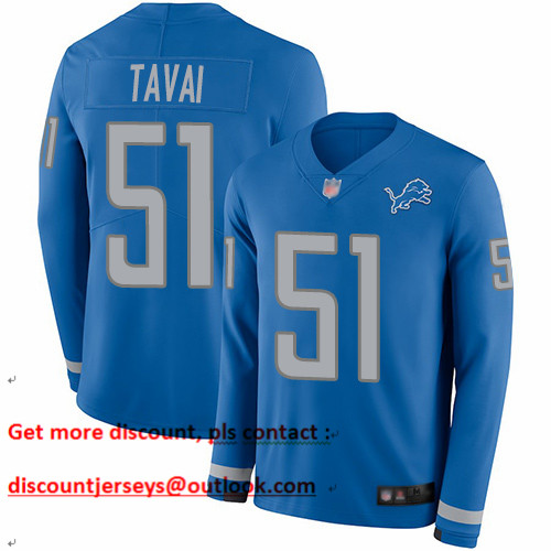 Lions #51 Jahlani Tavai Blue Team Color Men's Stitched Football Limited Therma Long Sleeve Jersey
