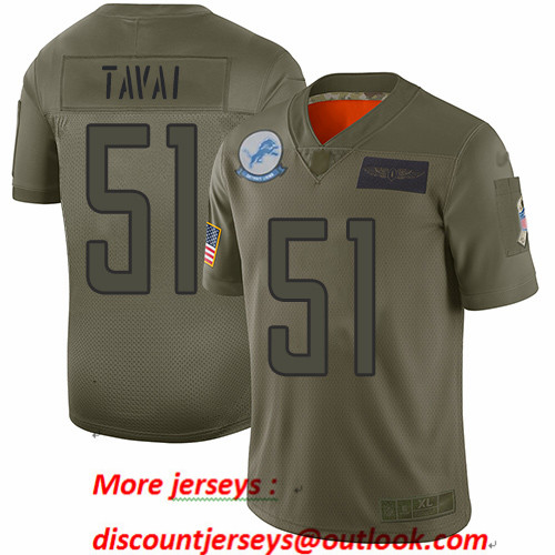 Lions #51 Jahlani Tavai Camo Men's Stitched Football Limited 2019 Salute To Service Jersey