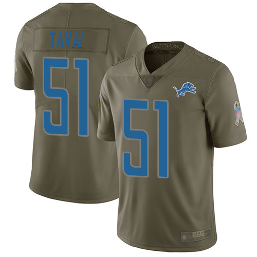 Lions #51 Jahlani Tavai Olive Men's Stitched Football Limited 2017 Salute To Service Jersey