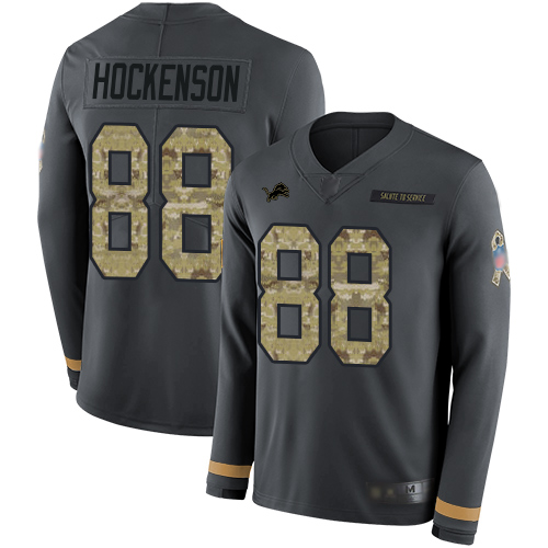 Lions #88 T.J. Hockenson Anthracite Salute to Service Men's Stitched Football Limited Therma Long Sleeve Jersey