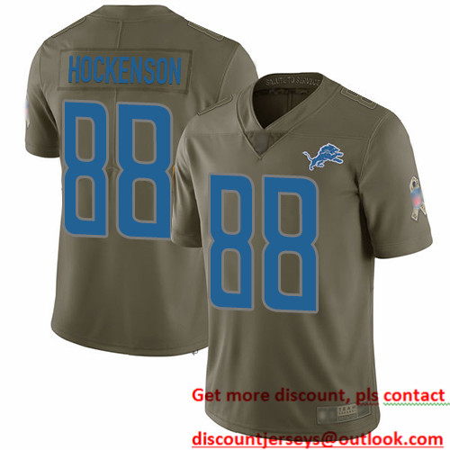 Lions #88 T.J. Hockenson Olive Men's Stitched Football Limited 2017 Salute To Service Jersey