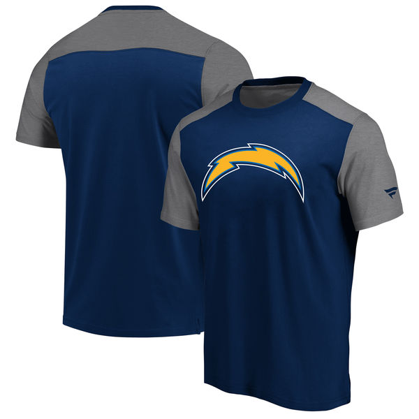 425c22c44 Los Angeles Chargers NFL Pro Line By Fanatics Branded Iconic Color Block  T-Shirt NavyHeathered