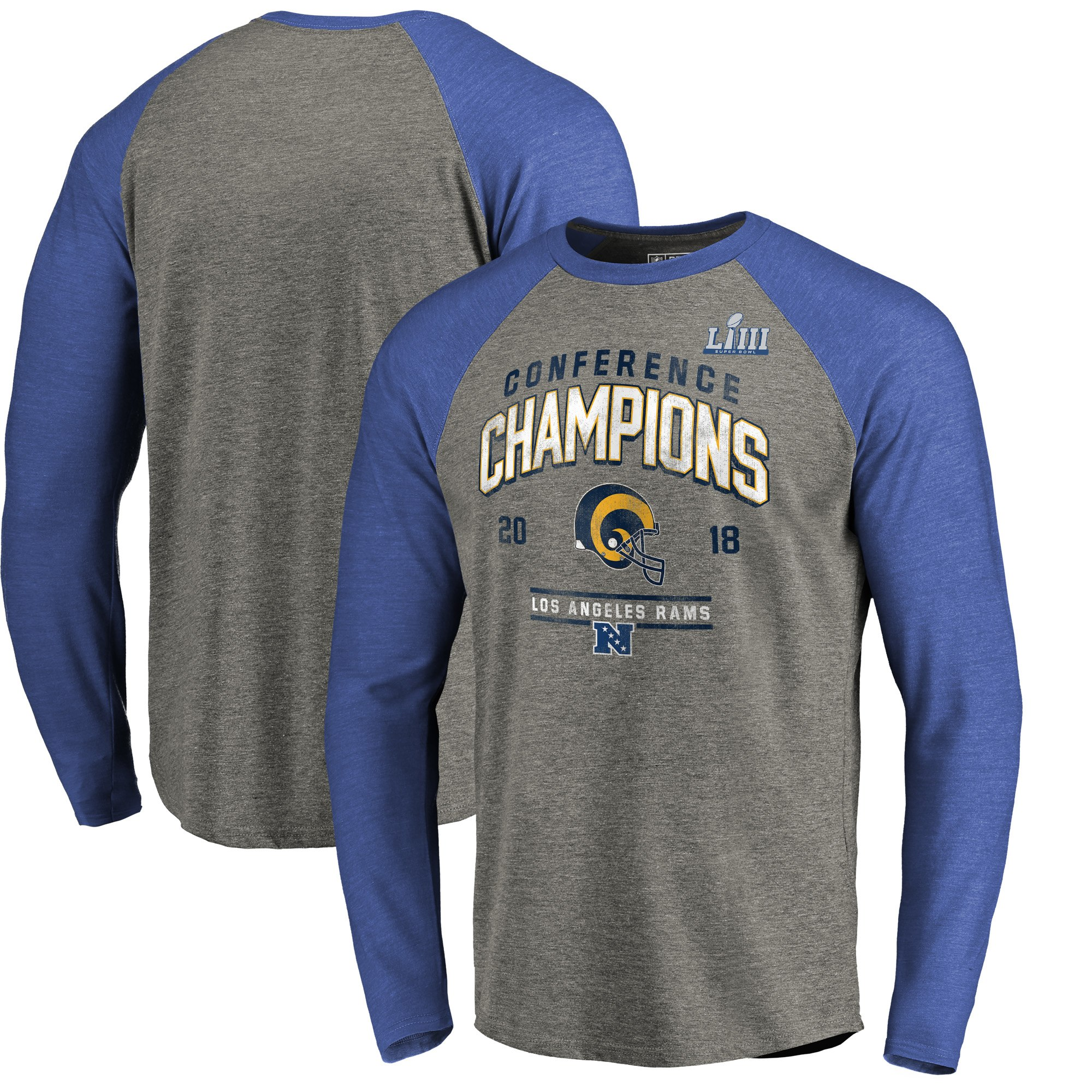 Los Angeles Rams NFL Pro Line By Fanatics Branded 2018 NFC Champions  Halfback Sweep Raglan Long 6234a1db3