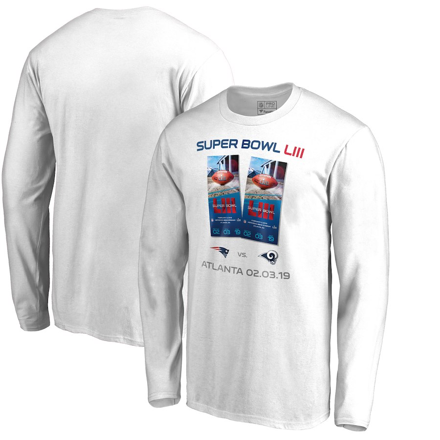 a735aff0ffd Los Angeles Rams Vs. New England Patriots NFL Pro Line By Fanatics Branded  Super Bowl LIII Dueling Ticket Long Sleeve T-Shirt White