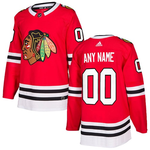 Men's Adidas Blackhawks Personalized Authentic Red Home NHL Jersey