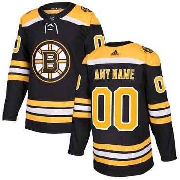 Men's Adidas Bruins Personalized Authentic Black Home NHL Jersey