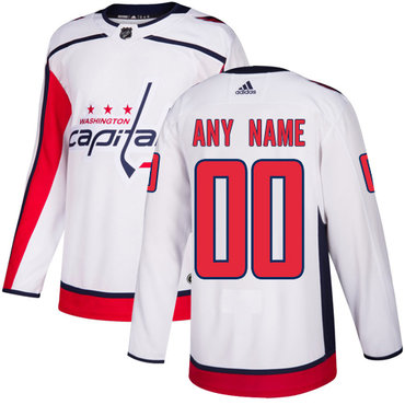 Men's Adidas Capitals Personalized Authentic White Road NHL Jersey