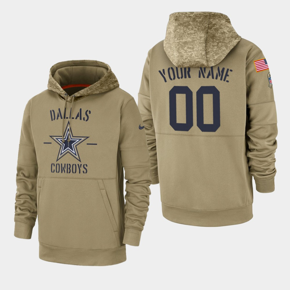 Men's Dallas Cowboys Custom 2019 Salute to Service Sideline Therma Pullover Hoodie - Tan