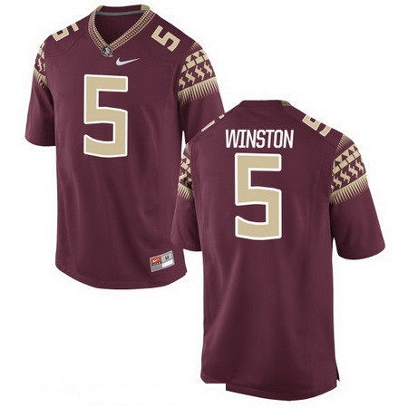 Men's Florida State Seminoles #5 Jameis Winston Red Stitched College Football 2016 Nike NCAA Jersey
