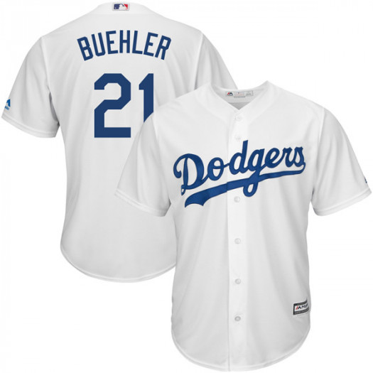 Men's Los Angeles Dodgers #21 Walker Buehler Player Replica White Cool Base Home Jersey