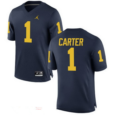 Men's Michigan Wolverines #1 Anthony Carter Retired Navy Blue Stitched College Football Brand Jordan NCAA Jersey