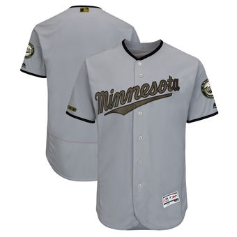 Men's Minnesota Twins Majestic Gray 2018 Memorial Day Authentic Collection Flex Base Team Custom Jersey