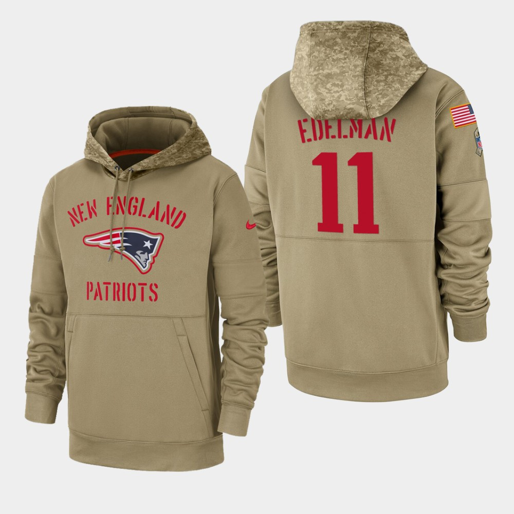 Men's New England Patriots Julian Edelman 2019 Salute to Service Sideline Therma Pullover Hoodie - Tan