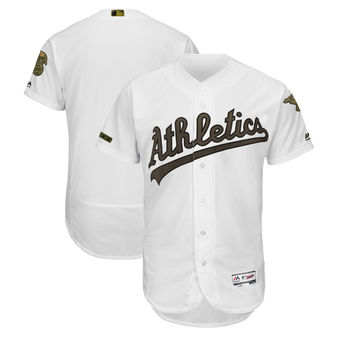 Men's Oakland Athletics Majestic White 2018 Memorial Day Authentic Collection Flex Base Team Custom Jersey