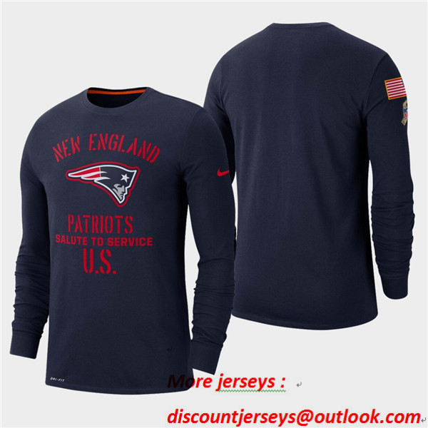Men's Patriots Navy 2019 Salute to Service Sideline Long Sleeve T-Shirt