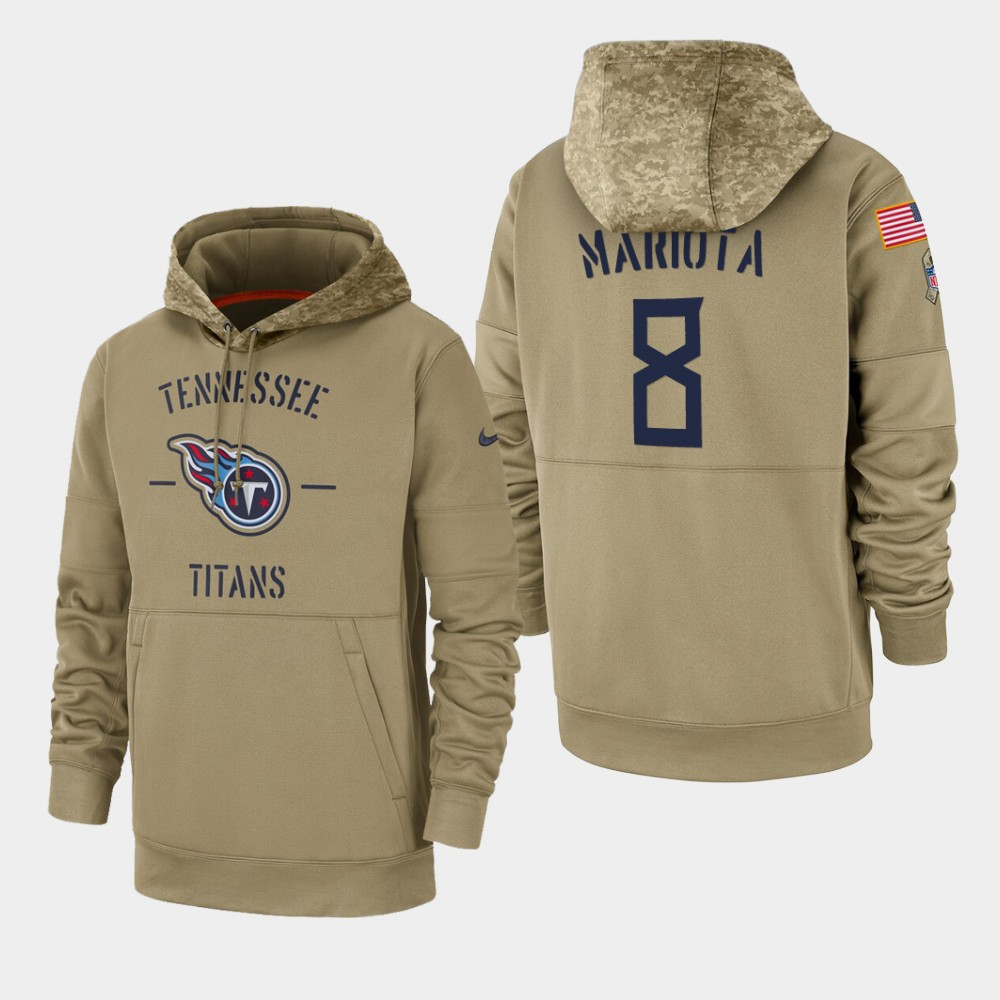 Men's Tennessee Titans Marcus Mariota 2019 Salute to Service Sideline Therma Hoodie - Tan