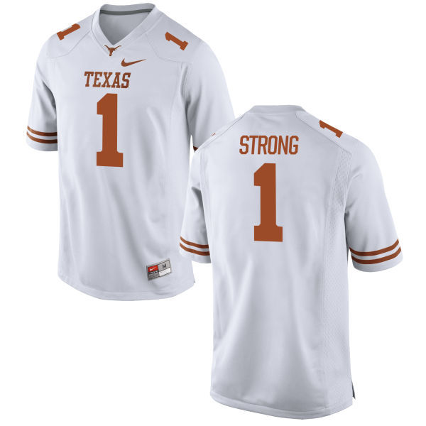 Men's Texas Longhorns 1 Charlie Strong White Nike College Jersey