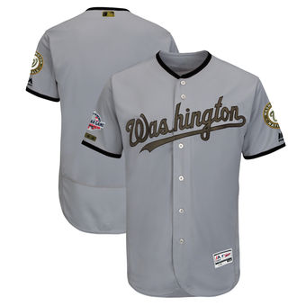 Men's Washington Nationals Majestic Gray 2018 Memorial Day Authentic Collection Flex Base Team Custom Jersey