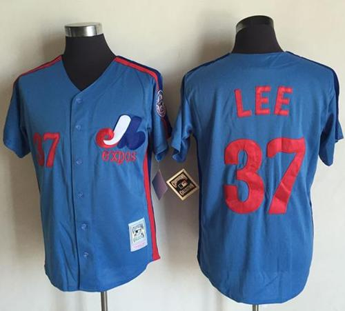 Mitchell And Ness Expos #37 Bill Lee Blue Throwback Stitched MLB Jersey