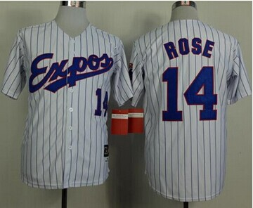 Montreal Expos #14 Pete Rose White(Black Strip) Mitchell And Ness 1982 Throwback Stitched Baseball Jersey
