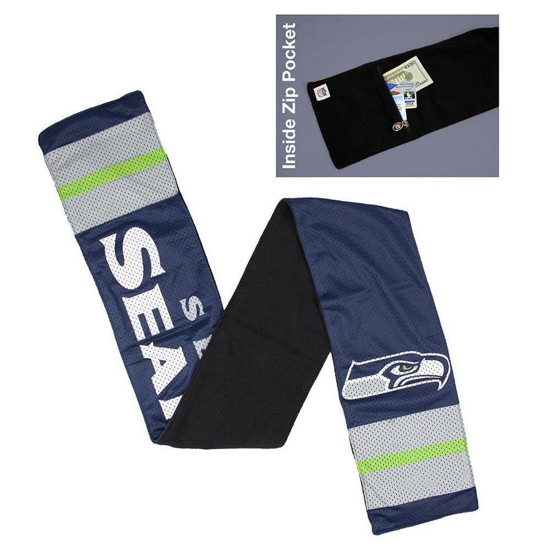 NFL Seattle Seahawks Jersey Scarf With Zip Pocket
